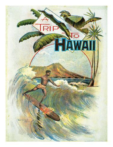 A Trip To Hawaii, Hawaiian Tourist Booklet Cover c.1894 Giclee Print