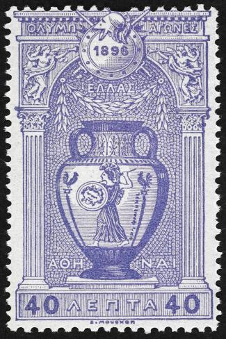 A Vase Depicting Pallas Athene. Greece 1896 Olympic Games 40 Lepta, Unused Giclee Print