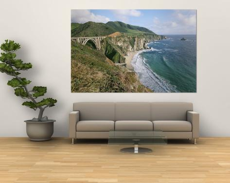 A View of Bixby Bridge on Hwy 1, Along Californias Big Sur Coast Wall Mural