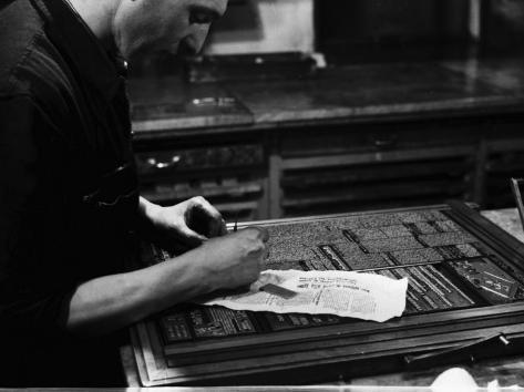 Printer at the Newspaper Printing Facility of the Daily Il Resto Del Carlino of Bologna Photographic Print