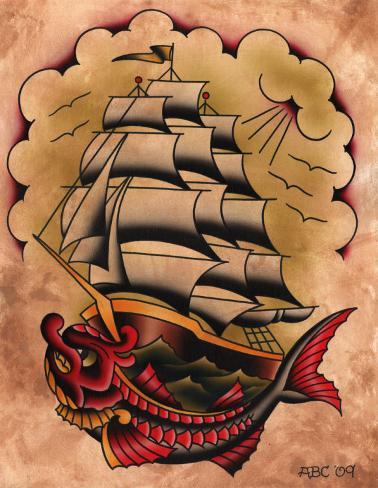 Ahoy Stretched Canvas Print