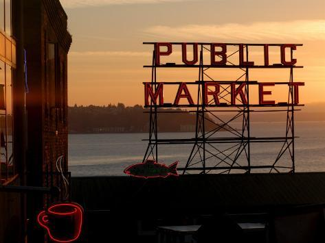 Pike Place Market and Puget Sound, Seattle, Washington State Photographic Print