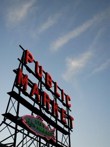 Seattle's Pike Place Market, a Place to Buy Fresh Meat, Fish, Seattle Photographic Print