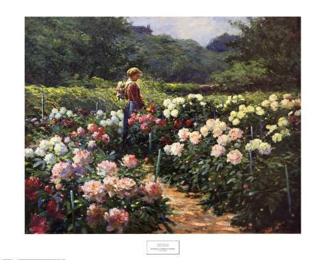 Woman in a Garden of Peonies Art Print