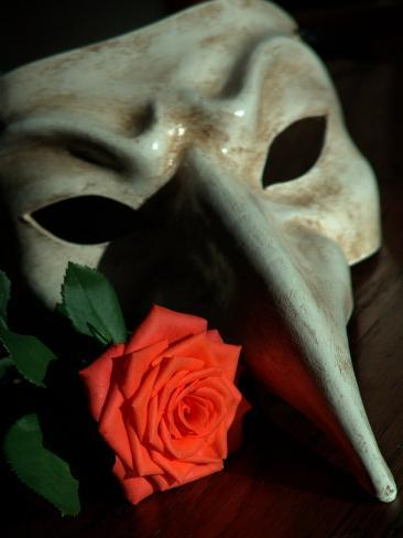 Still Life Photograph, a Traditional Venetian Mask with a Rose Photographic Print