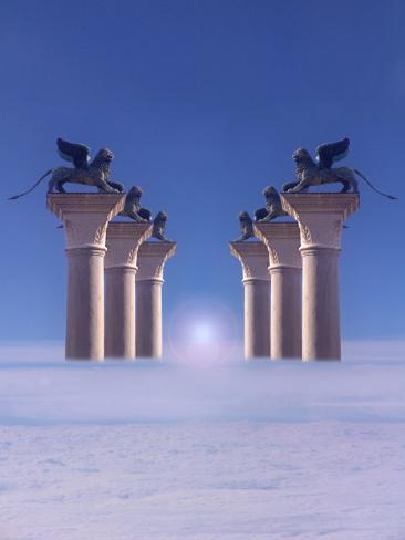 Winged Lions on Columns Above the Clouds Photographic Print