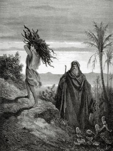Abraham and Isaac Carrying the Wood for the Sacrifice. Engraving. Lámina giclée