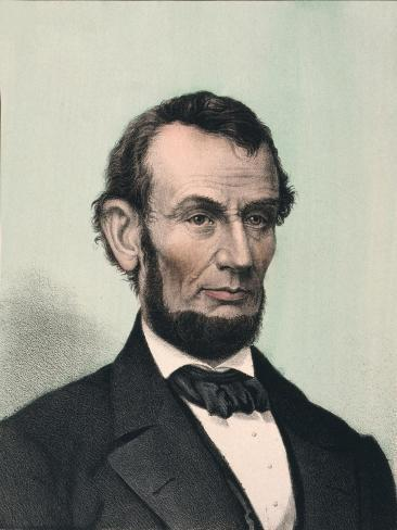 Abraham Lincoln, Hand Colored Lithography Published after Lincoln's Death in 1865 Stampa artistica