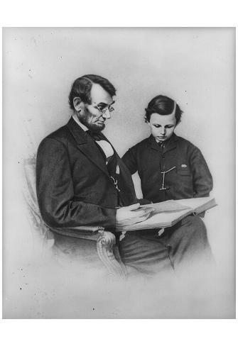Abraham Lincoln (Reading with Son Tad) Art Poster Print Poster