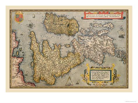 Map of Britian and Ireland Art Print