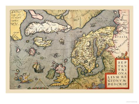 Map of North Sea Art Print
