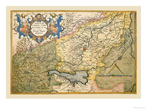 Map of Northeastern Italy, Verona Art Print