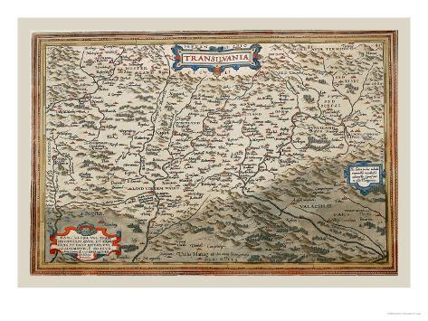Map of Transylvania Art Print