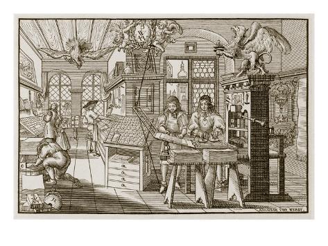 Medieval German Printing Press (Engraving) Giclee Print