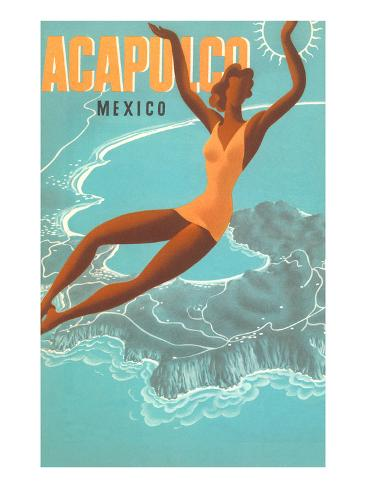 Acapulco, Mexico: Woman and Water Art Print
