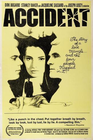 Accident, from Left: Dirk Bogarde, Jacqueline Sassard, Stanley Baker, 1967 Art Print