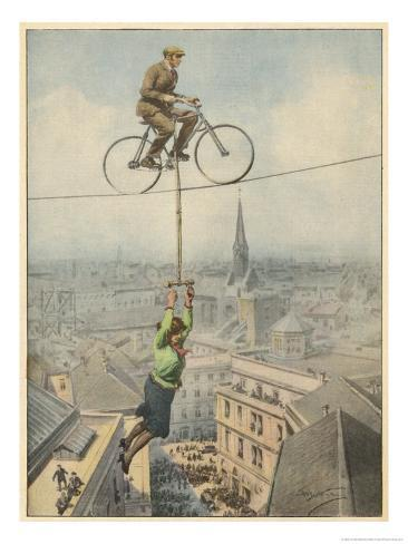 German Husband and Wife Team Perform a Dramatic Tightrope Cycling Act Giclee Print