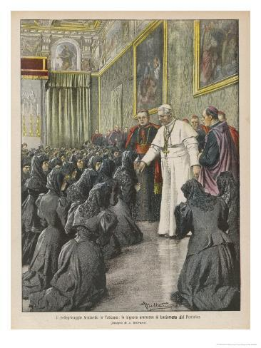 Pope Pius X (Giuseppe Sarto) Pope and Saint Receiving Pilgrims from Lombardy at the Vatican Impressão giclée