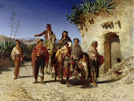 Gypsy Family on the Road, c.1861 Giclee Print