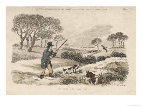 Snipe, a Hunter and His Dogs Go Snipe-Shooting in the Snow- Covered Fields Giclee Print