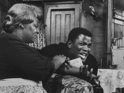 Actress Claudia Mcneil and Actor Sidney Poitier in a Scene from the Play