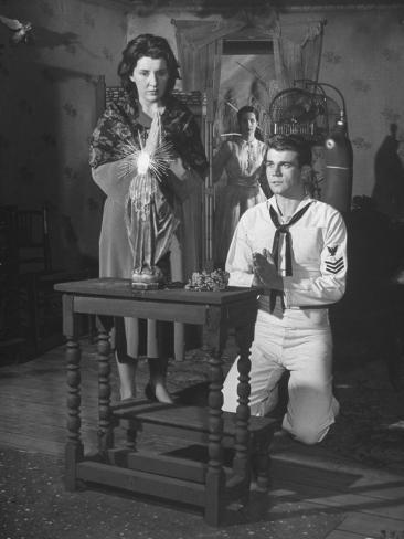 Actress Maureen Stapleton and Actor Don Murray, Performing in a Scene from