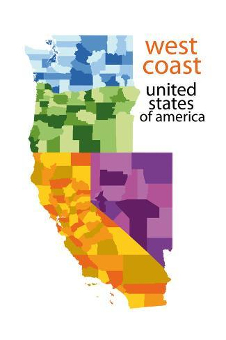 Detailed Vector Map of West Coast, Usa Art Print