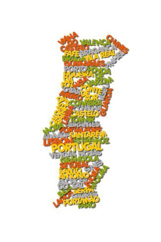 Word Cloud Map of Portugal Art Print