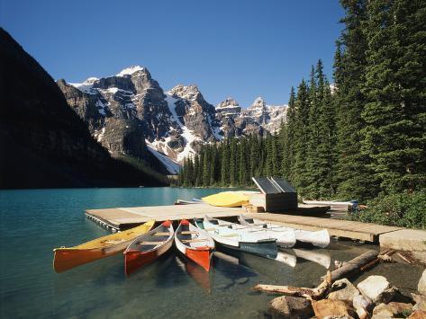 Canoe Moored at Dock on Moraine Lake, Banff NP, Alberta