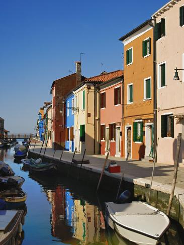 Colorful Houses and Boats Reflecting in Canal Burano, Italy Photographic Print