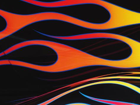 Orange and Yellow Flames Painted on a Black Car Photographic Print