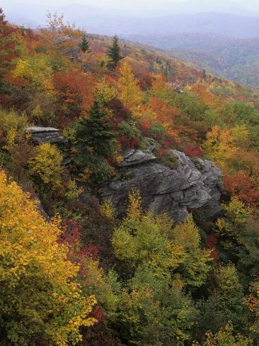 Rocky Outcrop and Autumn Colors Along the Blue Ridge National Parkway, Appalachian Mountains Photographic Print