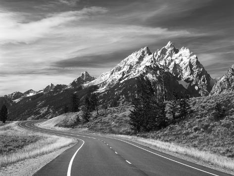 Teton Park Road and Teton Range, Grand Teton National Park, Wyoming, USA Photographic Print