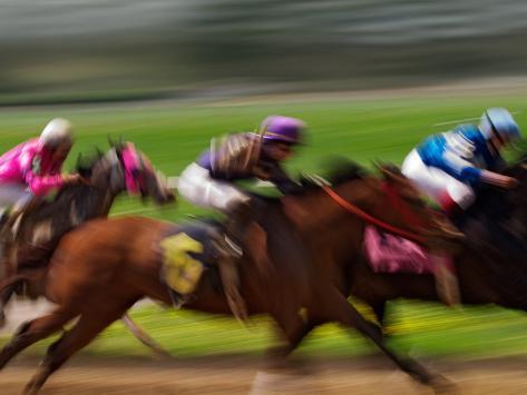 Thoroughbred Horses Racing at Keeneland Race Track, Lexington, Kentucky, USA Photographic Print