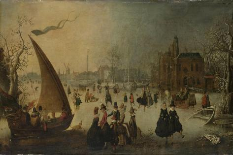 Landscape with Frozen Canal, Skaters and an Ice-Boat Art Print