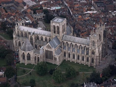Aerial View of York Minster, York, Yorkshire, England, United Kingdom Photographic Print