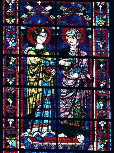 Two Angels in Stained Glass in the Central Choir, Chartres Cathedral, Chartres Photographic Print