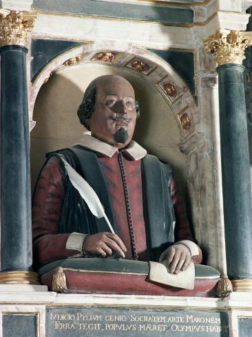 William Shakespeare's Bust, Holy Trinity Church, Stratford Upon Avon, Warwickshire, England Lámina fotográfica