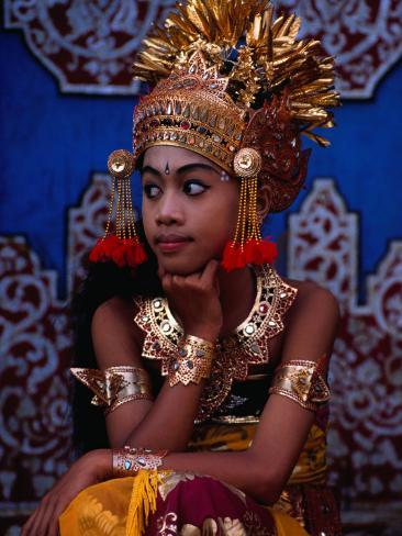 A Situ Dancer Relaxes on Temple Steps in Singapadu, Sampalan, Indonesia Photographic Print