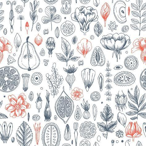 Floral Elements Background. Linear Graphic. Engraved Botanical Seamless Pattern. Vector Illustratio Stampa artistica