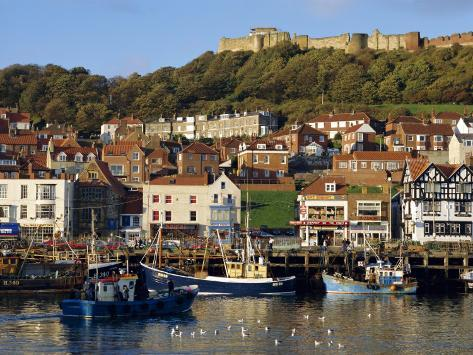Scarborough, Harbour and Seaside Resort with Castle on the Hill, Yorkshire, England Photographic Print