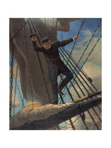 Admiral David Farragut Lashed to Upper Mast During Battle of Mobil Bay Stampa giclée