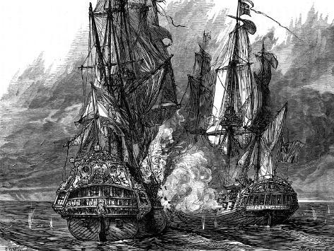 Admiral George Anson in the 'Centurion' Taking a Spanish Galleon Off the Philippines, 1743 Giclee Print