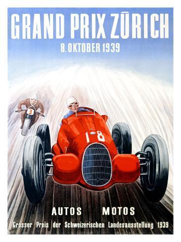 Grand Prix Zurich, 1939 Giclee Print