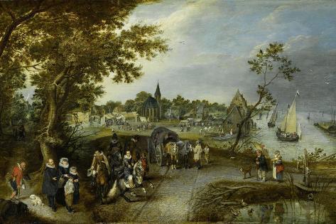 Landscape with Figures and a Village Fair (Village Kermesse) Art Print