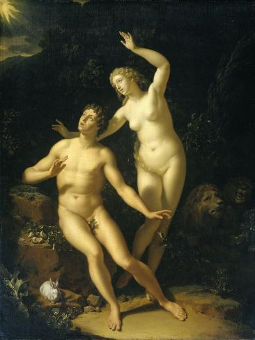 God Holds Adam and Eve Responsible Art Print