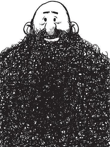Cartoon Style Illustration of a Beard Man Art Print