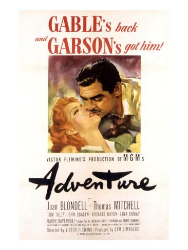 Adventure, Greer Garson, Clark Gable, 1945 Photo