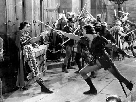 Adventures Of Robin Hood, Basil Rathbone, Errol Flynn, 1938 Photo