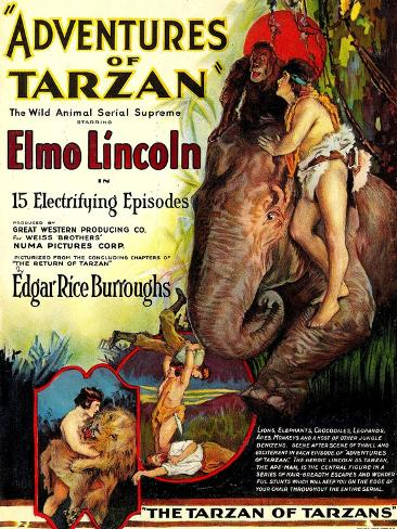 Adventures of Tarzan, Elmo Lincoln, 1921 Art Print